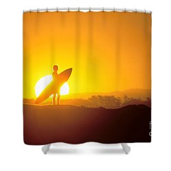 Surfer Silhouetted At Sun Shower Curtain by Erik Aeder - Printscapes