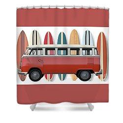 Shower Curtain featuring the digital art Surfer Van Tee by Edward Fielding