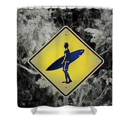 Surfer Xing Shower Curtain by Joseph S Giacalone