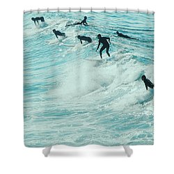 Surfers In Pacific Palisades Shower Curtain