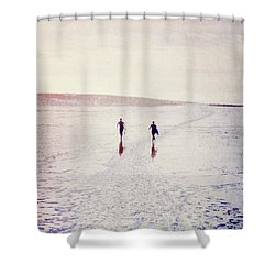 Shower Curtain featuring the photograph Surfers In The Snow by Lyn Randle