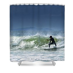 Surfing At Byron Bay Shower Curtain