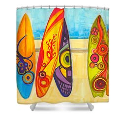Surfing Buddies - Surf Boards At The Beach Illustration Shower Curtain