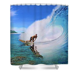 Surfing Dan Shower Curtain by Jane Girardot