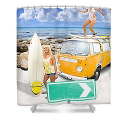 Shower Curtain featuring the photograph Surfing Holiday This Way by Jorgo Photography - Wall Art Gallery