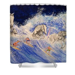 Surfing Horses Shower Curtain