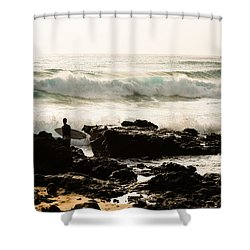 Surfing Makapu Beach  Shower Curtain