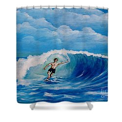 Surfing On The Waves Shower Curtain