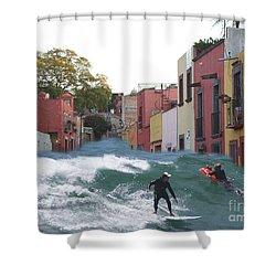 Shower Curtain featuring the photograph Surfing Quebrada by John  Kolenberg