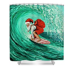 Shower Curtain featuring the painting Surfing Santa by Darice Machel McGuire