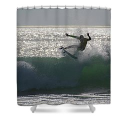 Shower Curtain featuring the photograph Surfing The Light by Thierry Bouriat