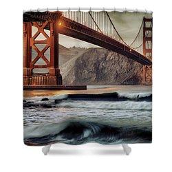 Surfing The Shadows Of The Golden Gate Bridge Shower Curtain