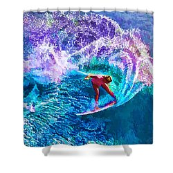 Surfs Like A Girl 1 Shower Curtain by ABeautifulSky Photography
