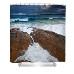 Surfs Up Shower Curtain by Mike  Dawson