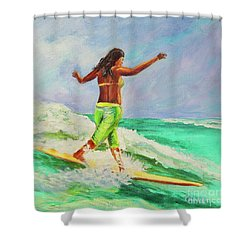 Shower Curtain featuring the painting Surfer Girl by Patricia Piffath