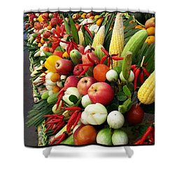 Shower Curtain featuring the photograph Surin Elephant Buffet by Mr Photojimsf