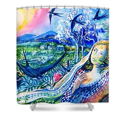 Surprised By A Swallow  Shower Curtain by Trudi Doyle