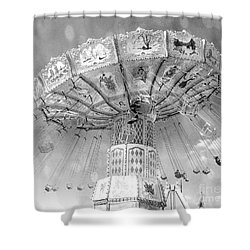 Shower Curtain featuring the photograph Surreal Carnival Rides - Carnival Rides Ferris Wheel Black And White Photography Prints Home Decor by Kathy Fornal