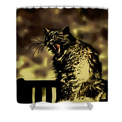 Surreal Cat Yawn Shower Curtain by Gina O'Brien