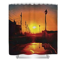 Surreal Cityscape Sunset Shower Curtain