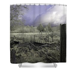 Shower Curtain featuring the photograph Surreal Cloud And Pasture by Chriss Pagani
