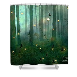 Surreal Dreamy Fantasy Nature Fairy Lights Woodlands Nature - Fairytale Fantasy Forest Woodlands  Shower Curtain by Kathy Fornal