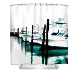 Surreal Fishing Boats In Outer Banks Marina Ap Shower Curtain