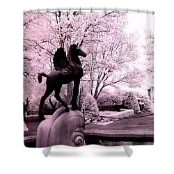 Surreal Infared Pink Black Sculpture Horse Pegasus Winged Horse Architectural Garden Shower Curtain