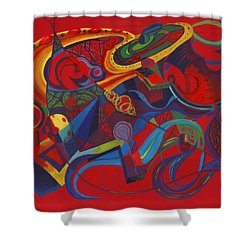 Shower Curtain featuring the painting Surreal Medieval Weaponry by Shawna Rowe