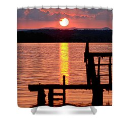 Surreal Smith Mountain Lake Dockside Sunset 2 Shower Curtain by The American Shutterbug Society