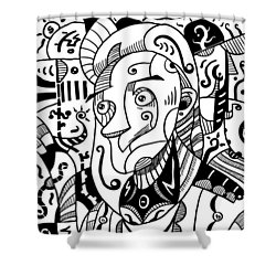 Surrealism Philosopher Black And White Shower Curtain