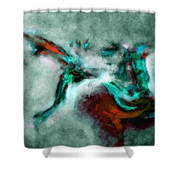 Shower Curtain featuring the painting Surrealist And Abstract Painting In Orange And Turquoise Color by Ayse Deniz