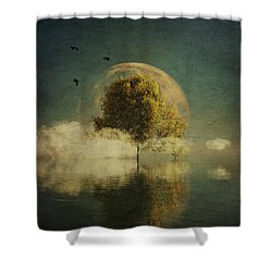 Surrealistic Landscape With Yellow Birch And Full Moon Shower Curtain