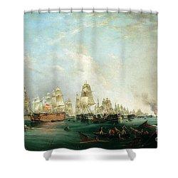 Surrender Of The Santissima Trinidad To Neptune The Battle Of Trafalgar Shower Curtain by Lieutenant Robert Strickland Thomas