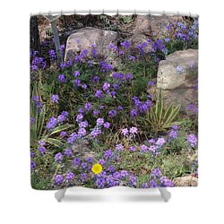 Surrounded By Purple Flowers Shower Curtain