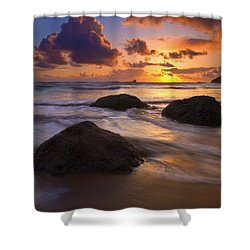 Surrounded By The Sea Shower Curtain by Mike  Dawson
