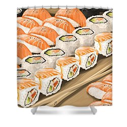 Shower Curtain featuring the painting Sushi by Veronica Minozzi