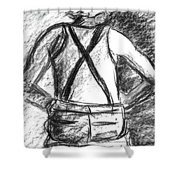 Shower Curtain featuring the painting Suspenders by Cathie Richardson