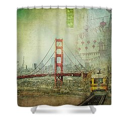 Shower Curtain featuring the photograph Suspension - Golden Gate Bridge San Francisco Photography Mixed Media Collage by Melanie Alexandra Price