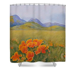 Sutter Buttes With California Poppies Shower Curtain