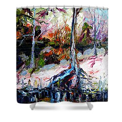 Suwanee River Black Waters Modern Art Shower Curtain by Ginette Callaway