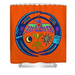 Shower Curtain featuring the digital art Sw Shaman Eagle Rain Dance by Vagabond Folk Art - Virginia Vivier