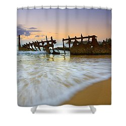 Swallowed By The Tides Shower Curtain by Mike  Dawson