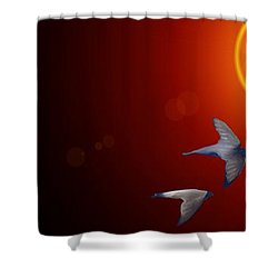 Swallows In Flight Shower Curtain by George Pedro