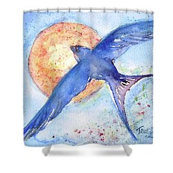 Shower Curtain featuring the painting Swallows Return  by Trudi Doyle