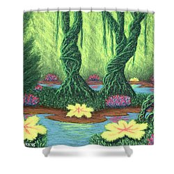 Swamp Things 02, Diptych Panel A Shower Curtain