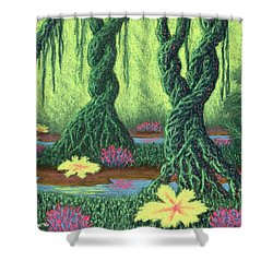 Swamp Things 02, Diptych Panel B Shower Curtain