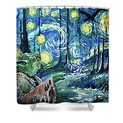 Swampy Night Shower Curtain by Tom Carlton