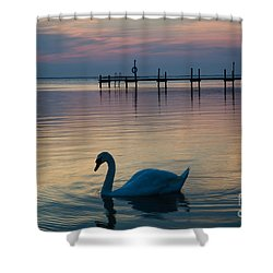 Swan At Twilight Reflections Shower Curtain