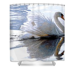 Swan Bathed In Morning Light Series 3 - Digitalart Shower Curtain
